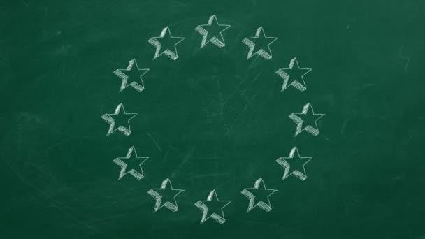 Aninmované hvězdy Evropské unie na zeleném tabuli. Zastavit animaci pohybu.
