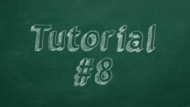 Hand drawing and animated text Tutorial #8. on green chalkboard.  Part 8 of 10. Stop motion animation.