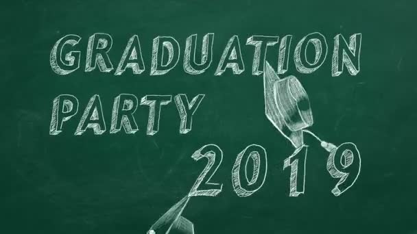 Hand drawing text Graduation party. 2019 and graduation caps  on green chalkboard.