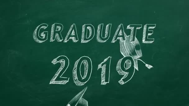 Hand drawing Graduate 2019 and graduation caps  on green chalkboard