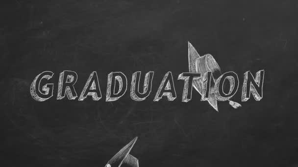 Hand drawing Graduation and graduation caps on blackboard