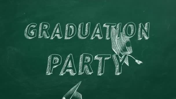 Hand drawing text Graduation party and graduation caps  on green chalkboard.