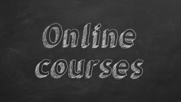 Hand drawing Online courses on black chalkboard. Stop motion animation.