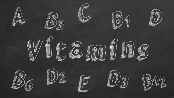 Hand drawing and animated text Vitamins and vitamins names on blackboard. Stop motion animation.