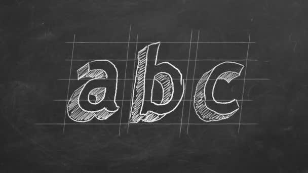 Kézi rajz és animált ABC a táblán. Mozgási animáció leállítása.