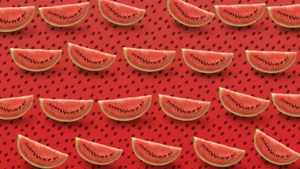 Colorful fruit pattern of fresh watermelon slice on red background. 4k video.