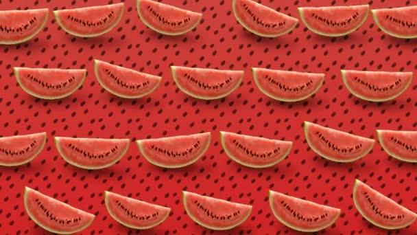 Barevné ovoce vzorek čerstvé meloun výseče na červeném pozadí. 4k video.
