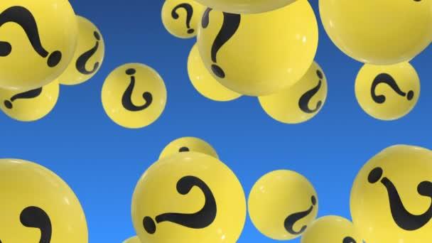 Flying Up Bälle mit Fragezeichen auf blau. Häufig gestellte Fragen
