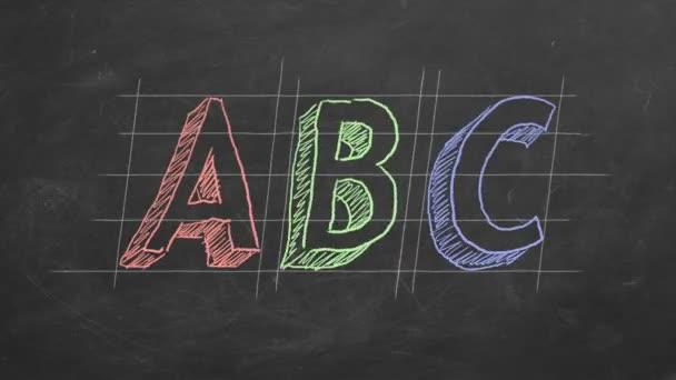 Kézi rajz és animált ABC a táblára