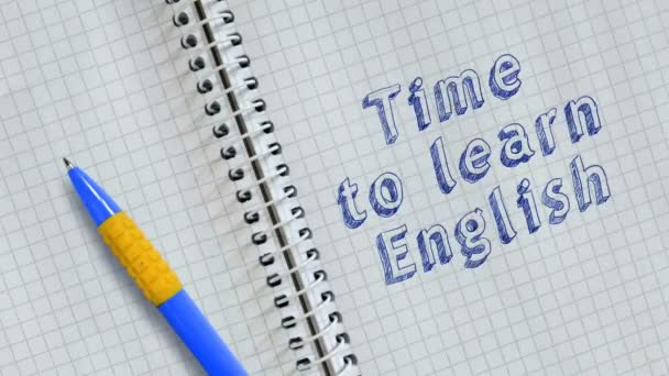 Text   time to learn english handwritten on sheet of notebook and animated.