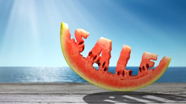 Word SALE  carved in a slice of watermelon  on the sea background.