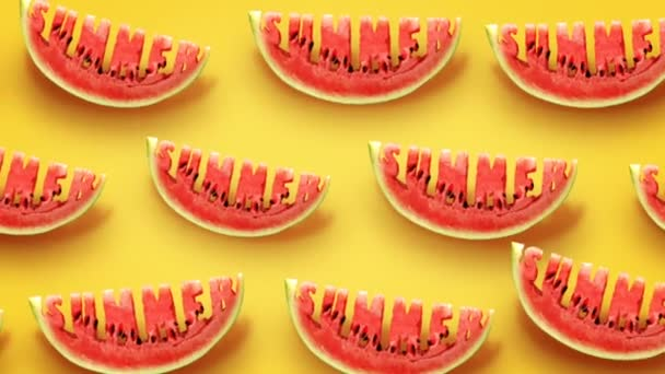 Fresh slices of watermelon on yellow background. Word Summer  carved in every piece.
