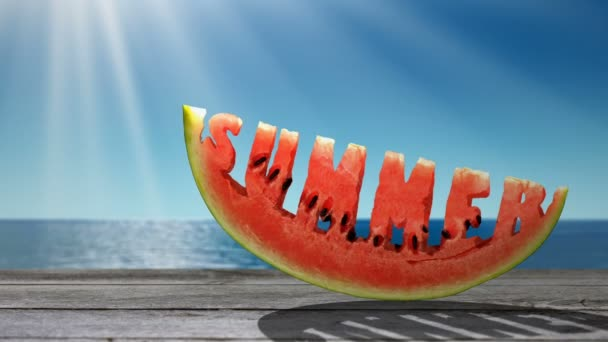 Word Summer  carved in a slice of watermelon  on the sea background.