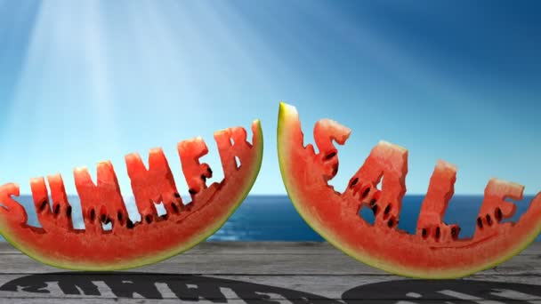 Text Summer Sale  carved in a slice of watermelon  on the sea background.