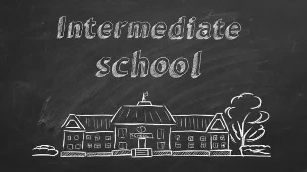 Školní budova a písmo střední škola na tabuli. Kresba z ruky.