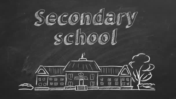Iskolaépítés és betűkkel a tábla középiskolája. Kézzel rajzolt vázlat.