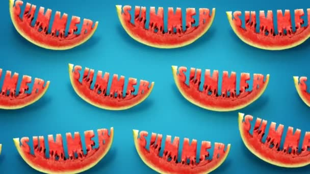 Fresh slices of watermelon on blue background. Word Summer  carved in every piece.