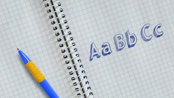 Szöveg Aabbcc kézírásos a lapon a notebook és animált.