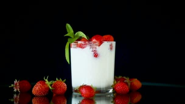 sweet homemade yogurt with fresh ripe strawberries