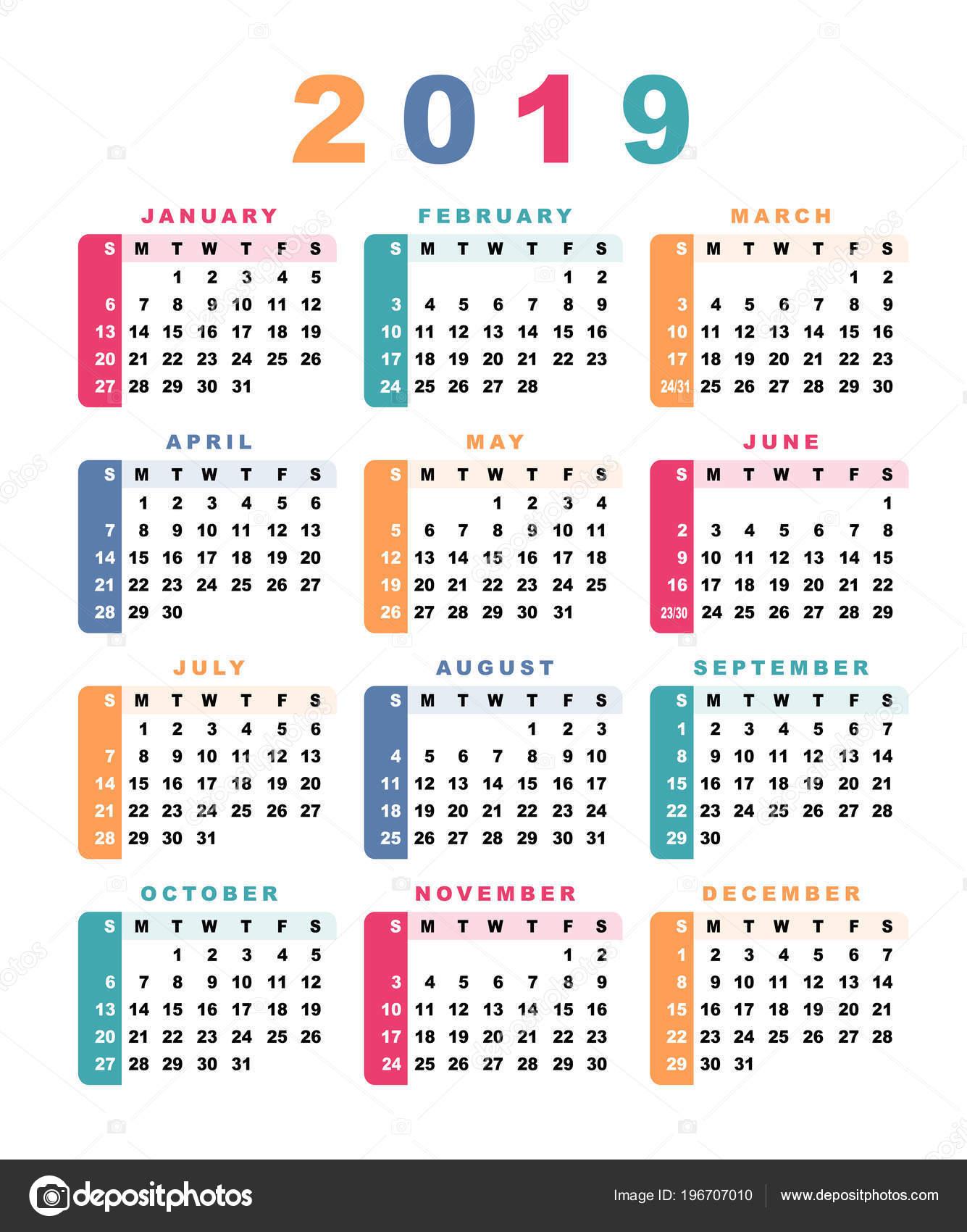 Calendario 2019 Con Numero Week.Calendar 2019 Week Starts Sunday Vector Illustration Stock