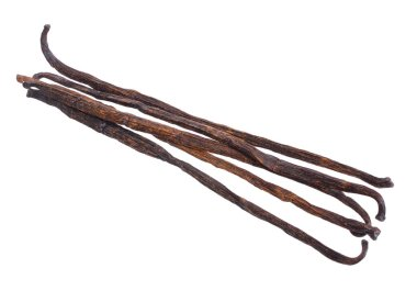 Vanilla pods. Isolated on white background. Full depth of field.