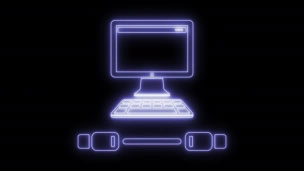 Animovaný USB kabel a ikona počítače 4k