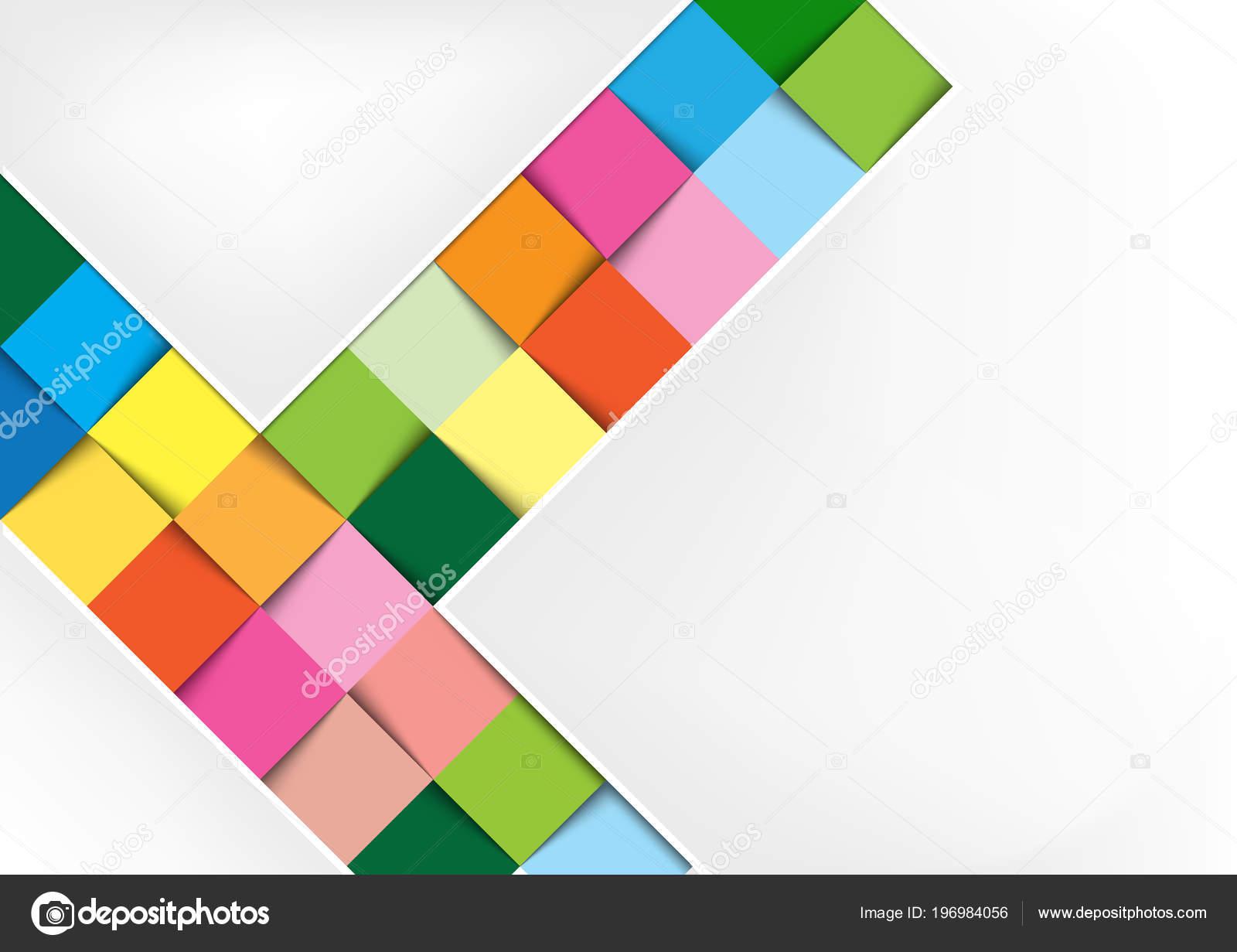 Weißer Hintergrund Mit Bunten Quadraten Und Schatten Geometrische ...