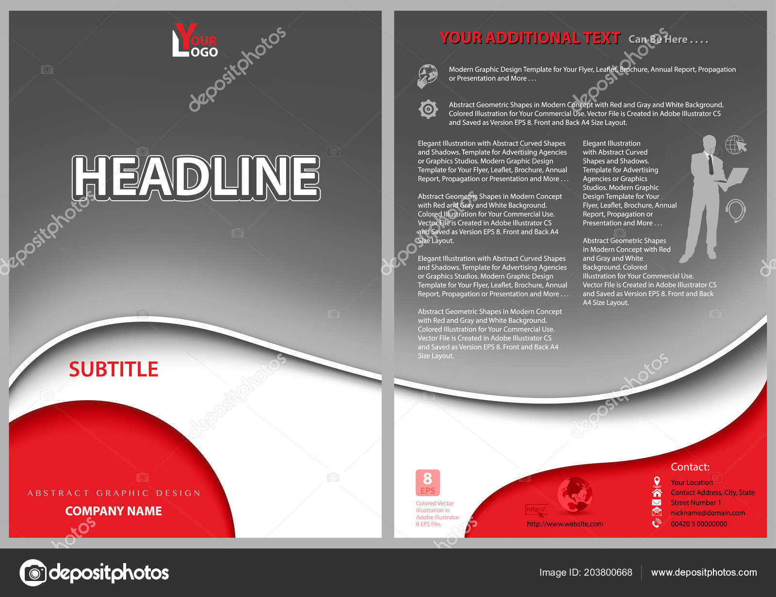 Leaflet Template Gray Wavy Background Red Decorative Shapes White