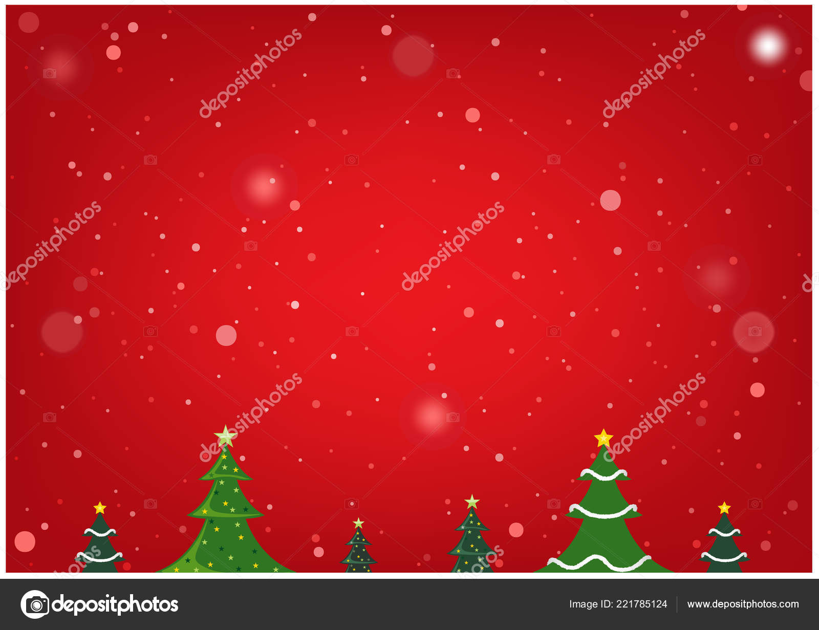 Red Christmas Background Xmas Trees Snow Abstract Simple Illustration Copy Stock Vector C Dero2010 221785124