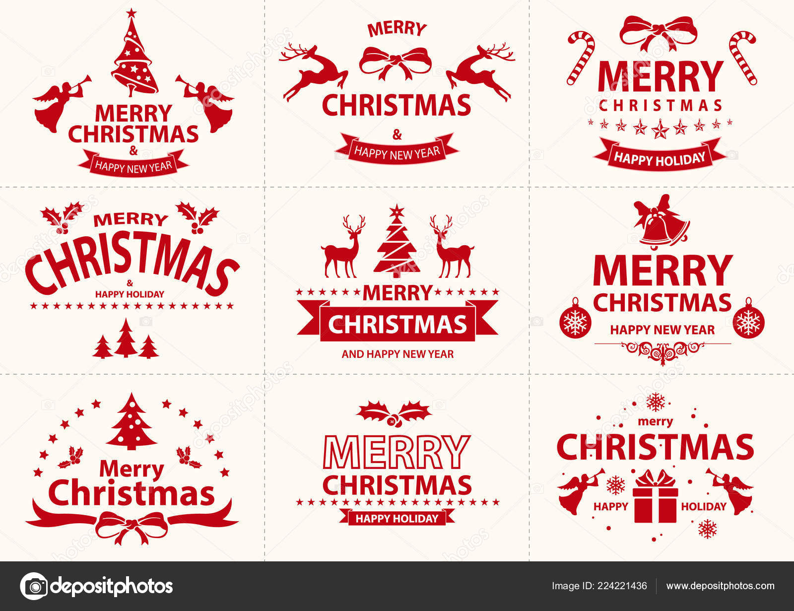 set red merry christmas label pretty christmas badge collection