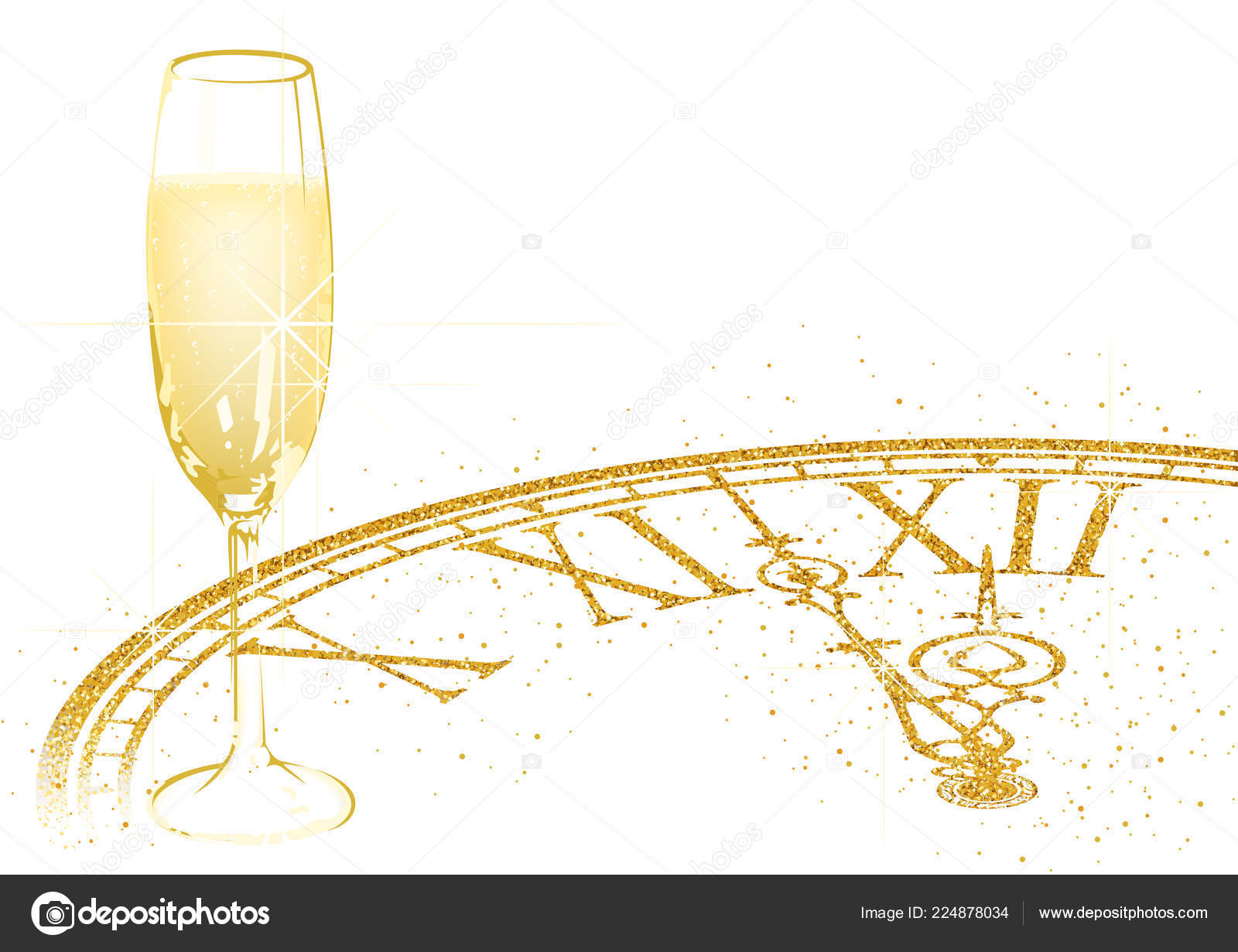 new year background champagne glass golden glittering dial festive detailed stock vector