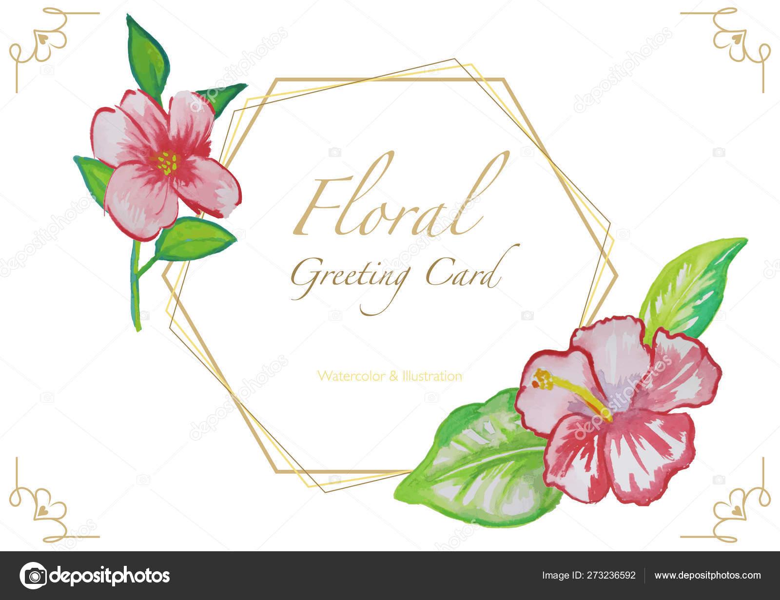floral watercolor greeting card golden frame corner decoration source illustration stock vector c dero2010 273236592 floral watercolor greeting card golden frame corner decoration source illustration stock vector c dero2010 273236592