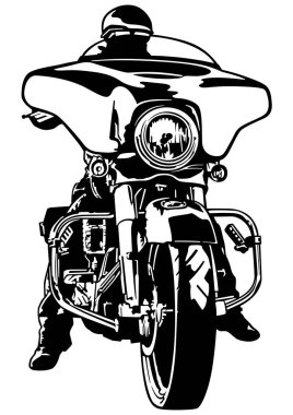 Motorcyclist Front View - Black and White Outline Illustration with Rider on Harley Motorcycle, Vector