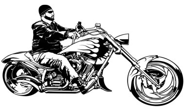 Biker on Motorcycle from Profile