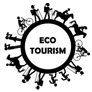 Eco tourism icon with stylized tourists, photographers and riders