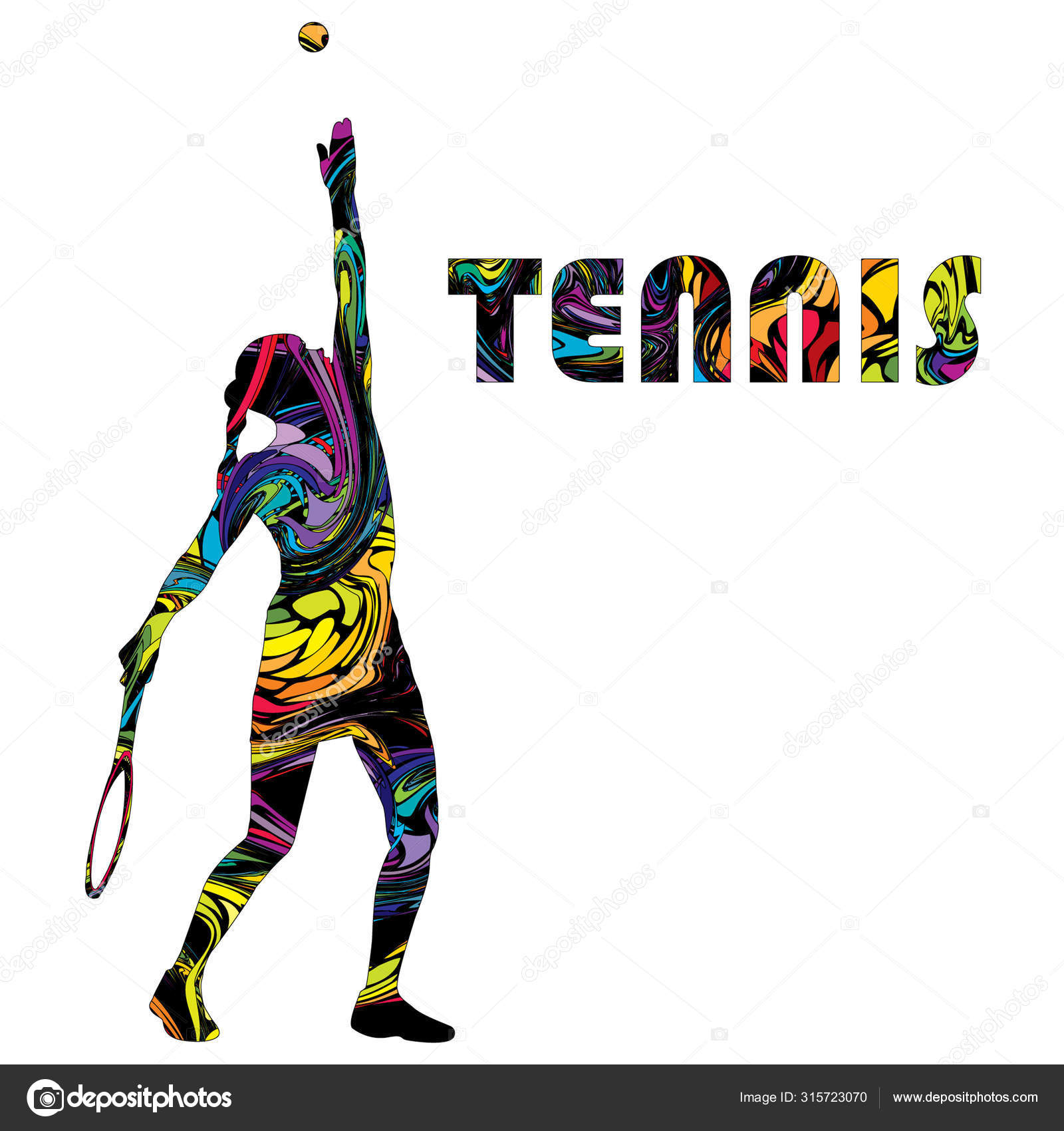 Tennis Banner With Colorful Silhouette Of A Woman Tennis Player Stock Vector C Hibrida13 315723070