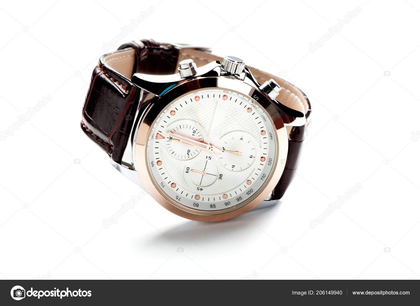 Sur Montre Cuir Fond Homme Avec Bracelet Blanc Cadran Isolé f6gYb7yv