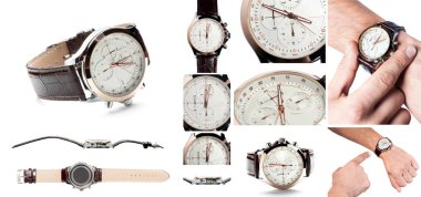 Set: Men's watch with leather strap and white dial, isolated on a white background
