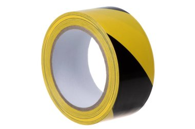 Roll of black and yellow tape for fencing, close-up on a white b