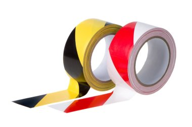 Three rolls of tape for fencing, close-up on a white background
