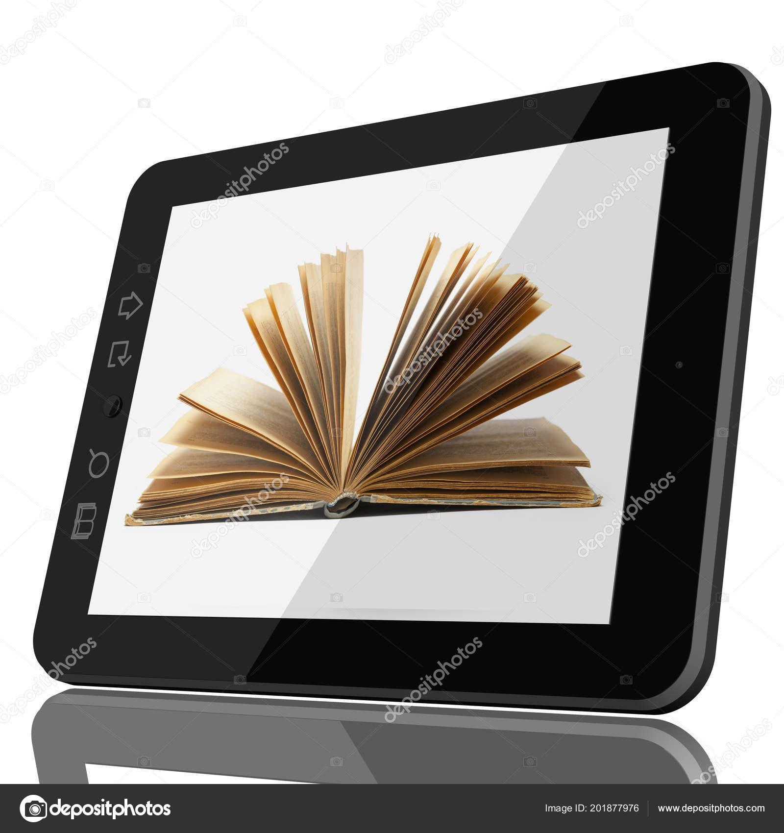 Digital Library Concept Open Book Teblet Computer Screen Model