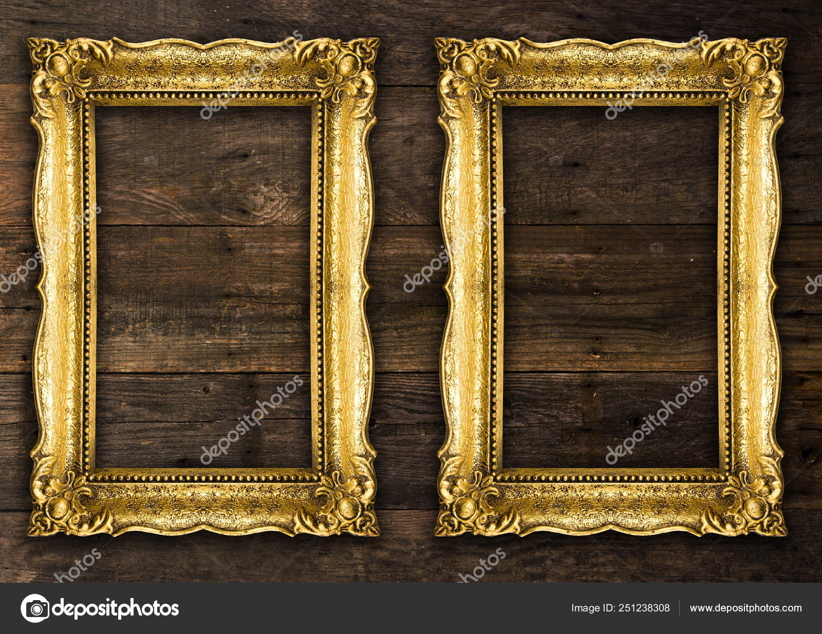 Two Retro Old Gold Rustic Picture Frames Stock Photo C Adam R 251238308