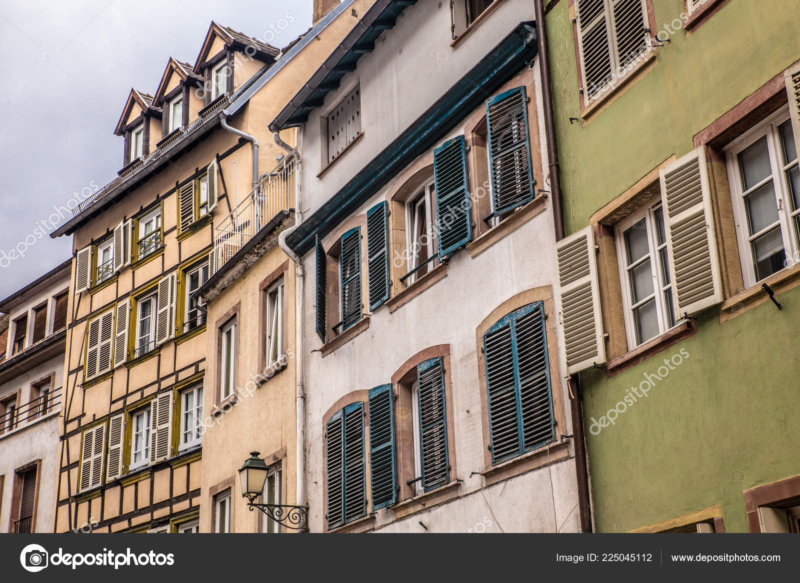 Row Traditional Old European Buildings Half Timbered