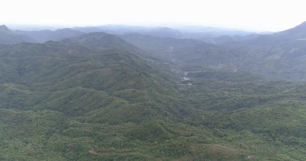 Letecký pohled na zelené pole v Thajsku/Aerial dron zobrazení krajiny vesnice krajiny a zelených polí v Thajsku - video v pomalém pohybu