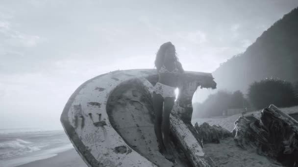 Beautiful girl posing on the shipwreck at the sandy beach during amazing sunset - black and white video in slow motion