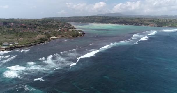 Aerial drone view coastline of beautiful Nusa Lembongan, Bali, Indonesia