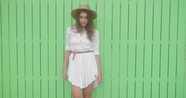 Fashion beauty portrait of smiling girl in white dress and straw hat isolated over bright green wall