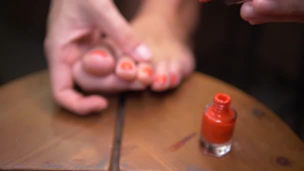 Closeup Woman Foot Doing Pedicure Girl Applying Red Nail Polish
