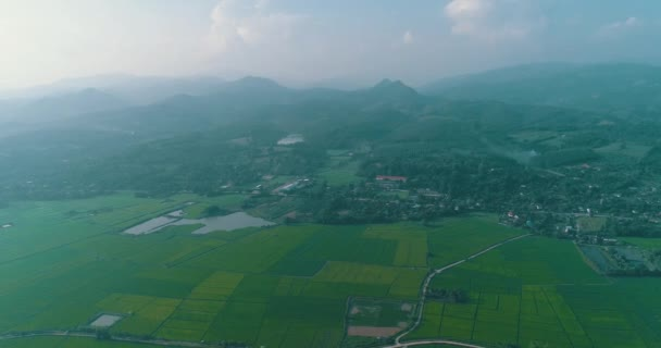 Aerial view of beautiful fields with river in Chiang Rai area during sunny day, Thailand