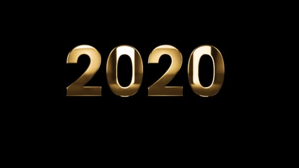 2020 Happy New Year - text animation with gold letters over black background
